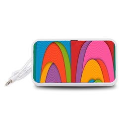 Modern Abstract Colorful Stripes Wallpaper Background Portable Speaker (white)