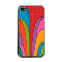 Modern Abstract Colorful Stripes Wallpaper Background Apple Iphone 4 Case (clear)