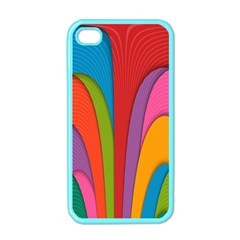 Modern Abstract Colorful Stripes Wallpaper Background Apple Iphone 4 Case (color)