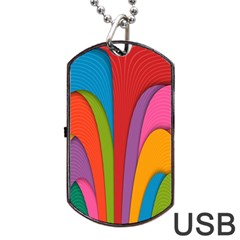 Modern Abstract Colorful Stripes Wallpaper Background Dog Tag USB Flash (One Side)