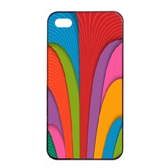 Modern Abstract Colorful Stripes Wallpaper Background Apple Iphone 4/4s Seamless Case (black)
