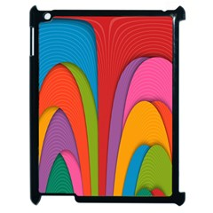Modern Abstract Colorful Stripes Wallpaper Background Apple Ipad 2 Case (black)