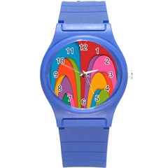 Modern Abstract Colorful Stripes Wallpaper Background Round Plastic Sport Watch (s)