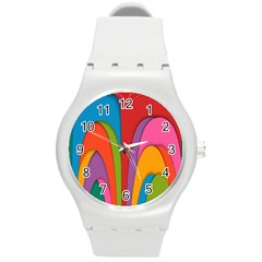 Modern Abstract Colorful Stripes Wallpaper Background Round Plastic Sport Watch (m)