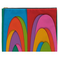 Modern Abstract Colorful Stripes Wallpaper Background Cosmetic Bag (xxxl)