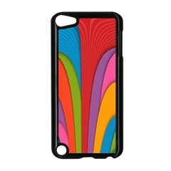Modern Abstract Colorful Stripes Wallpaper Background Apple Ipod Touch 5 Case (black)