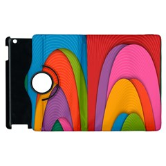 Modern Abstract Colorful Stripes Wallpaper Background Apple iPad 3/4 Flip 360 Case