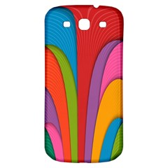 Modern Abstract Colorful Stripes Wallpaper Background Samsung Galaxy S3 S Iii Classic Hardshell Back Case