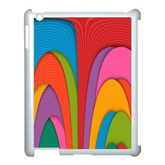 Modern Abstract Colorful Stripes Wallpaper Background Apple Ipad 3/4 Case (white)