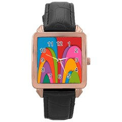 Modern Abstract Colorful Stripes Wallpaper Background Rose Gold Leather Watch