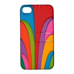 Modern Abstract Colorful Stripes Wallpaper Background Apple Iphone 4/4s Hardshell Case With Stand