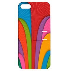 Modern Abstract Colorful Stripes Wallpaper Background Apple Iphone 5 Hardshell Case With Stand