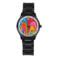 Modern Abstract Colorful Stripes Wallpaper Background Stainless Steel Round Watch