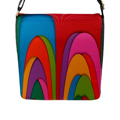 Modern Abstract Colorful Stripes Wallpaper Background Flap Messenger Bag (l)