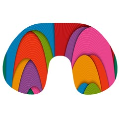 Modern Abstract Colorful Stripes Wallpaper Background Travel Neck Pillows
