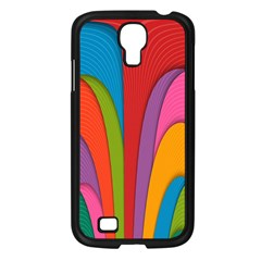 Modern Abstract Colorful Stripes Wallpaper Background Samsung Galaxy S4 I9500/ I9505 Case (black)