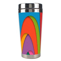 Modern Abstract Colorful Stripes Wallpaper Background Stainless Steel Travel Tumblers