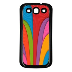 Modern Abstract Colorful Stripes Wallpaper Background Samsung Galaxy S3 Back Case (black)
