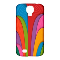 Modern Abstract Colorful Stripes Wallpaper Background Samsung Galaxy S4 Classic Hardshell Case (pc+silicone)