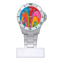 Modern Abstract Colorful Stripes Wallpaper Background Plastic Nurses Watch