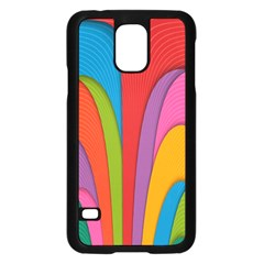 Modern Abstract Colorful Stripes Wallpaper Background Samsung Galaxy S5 Case (black)