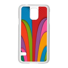 Modern Abstract Colorful Stripes Wallpaper Background Samsung Galaxy S5 Case (white)
