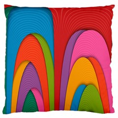 Modern Abstract Colorful Stripes Wallpaper Background Large Flano Cushion Case (Two Sides)