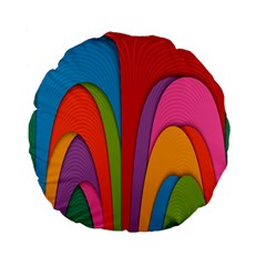 Modern Abstract Colorful Stripes Wallpaper Background Standard 15  Premium Flano Round Cushions