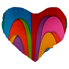 Modern Abstract Colorful Stripes Wallpaper Background Large 19  Premium Flano Heart Shape Cushions