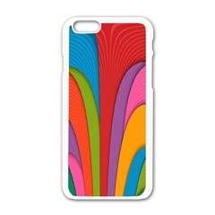 Modern Abstract Colorful Stripes Wallpaper Background Apple Iphone 6/6s White Enamel Case