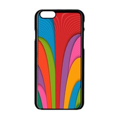Modern Abstract Colorful Stripes Wallpaper Background Apple Iphone 6/6s Black Enamel Case