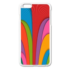 Modern Abstract Colorful Stripes Wallpaper Background Apple iPhone 6 Plus/6S Plus Enamel White Case