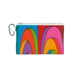 Modern Abstract Colorful Stripes Wallpaper Background Canvas Cosmetic Bag (s)