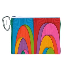 Modern Abstract Colorful Stripes Wallpaper Background Canvas Cosmetic Bag (l)