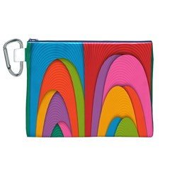 Modern Abstract Colorful Stripes Wallpaper Background Canvas Cosmetic Bag (xl)