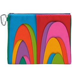 Modern Abstract Colorful Stripes Wallpaper Background Canvas Cosmetic Bag (XXXL)