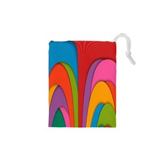 Modern Abstract Colorful Stripes Wallpaper Background Drawstring Pouches (xs)