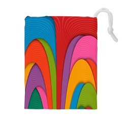 Modern Abstract Colorful Stripes Wallpaper Background Drawstring Pouches (extra Large)