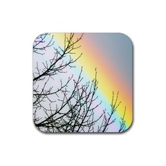 Rainbow Sky Spectrum Rainbow Colors Rubber Square Coaster (4 Pack)