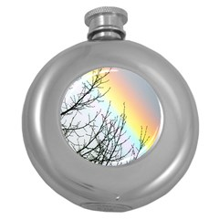 Rainbow Sky Spectrum Rainbow Colors Round Hip Flask (5 Oz)