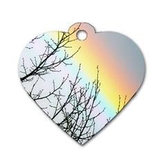 Rainbow Sky Spectrum Rainbow Colors Dog Tag Heart (One Side)