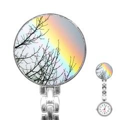 Rainbow Sky Spectrum Rainbow Colors Stainless Steel Nurses Watch