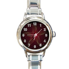 Fractal Red Star Isolated On Black Background Round Italian Charm Watch