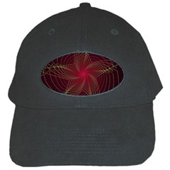 Fractal Red Star Isolated On Black Background Black Cap