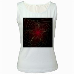 Fractal Red Star Isolated On Black Background Women s White Tank Top