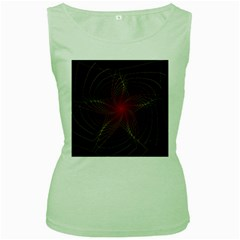Fractal Red Star Isolated On Black Background Women s Green Tank Top