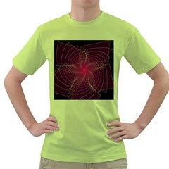 Fractal Red Star Isolated On Black Background Green T-Shirt