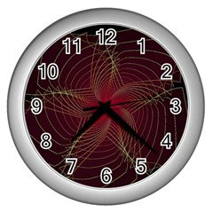 Fractal Red Star Isolated On Black Background Wall Clocks (silver)