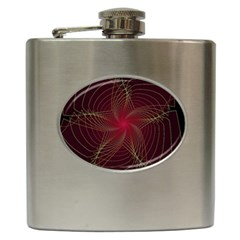 Fractal Red Star Isolated On Black Background Hip Flask (6 oz)