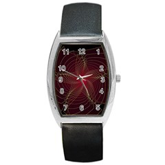 Fractal Red Star Isolated On Black Background Barrel Style Metal Watch